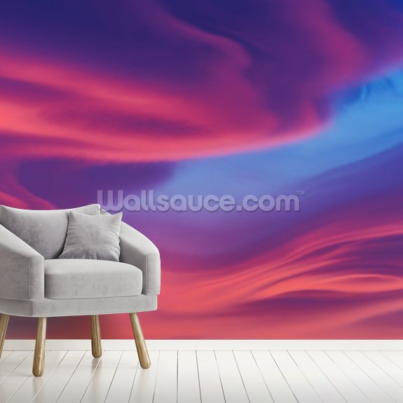 Moody Lenticular Clouds at Sunset wallpaper mural room setting