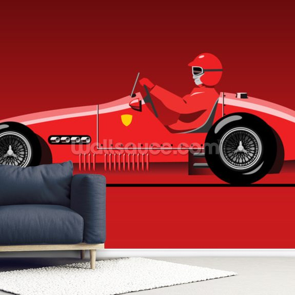 Retro Red Racer mural wallpaper room setting
