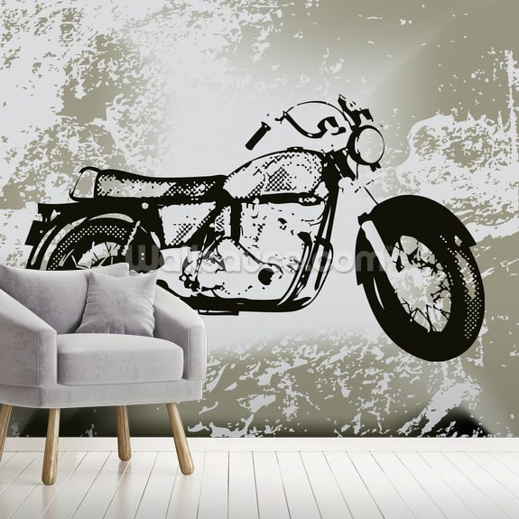 Motorcycle Grunge wallpaper mural room setting