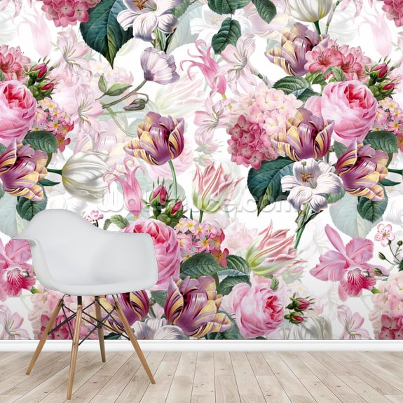 Floral Romance mural wallpaper room setting