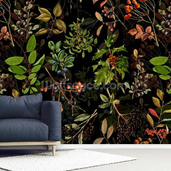 Night Time Woodland wall mural room setting