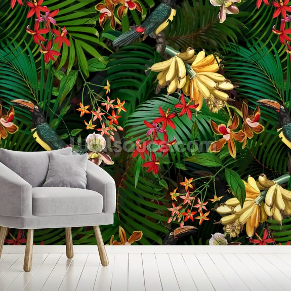 Orchid Jungle wallpaper mural room setting