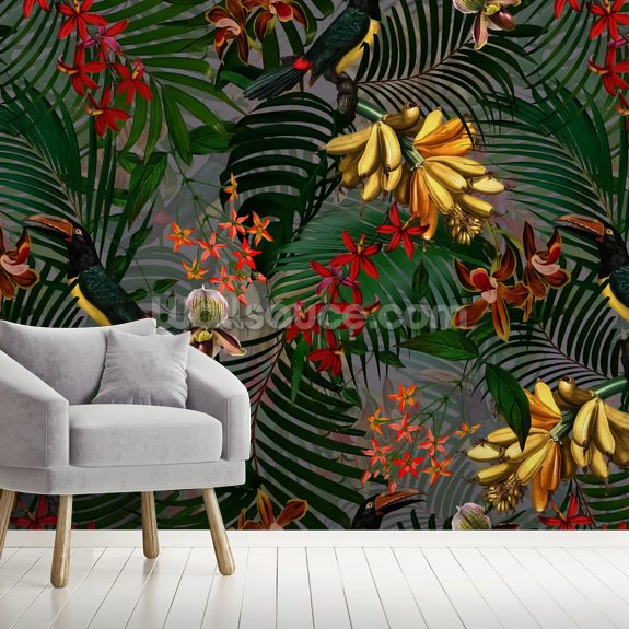 Palm Leaf Paradise mural wallpaper room setting