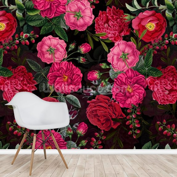 Pretty in Pink wall mural room setting