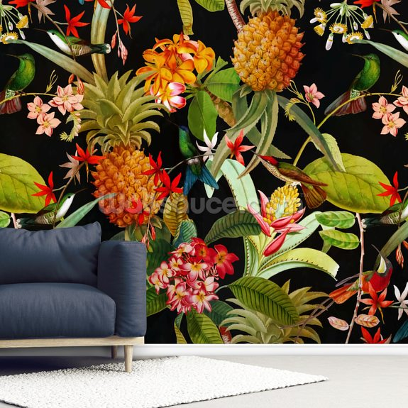 Tropical Pineapples wall mural room setting