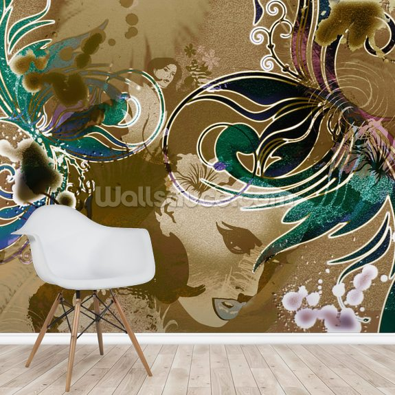 Phoenix wallpaper mural room setting