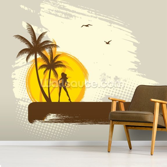 Tropics wall mural room setting