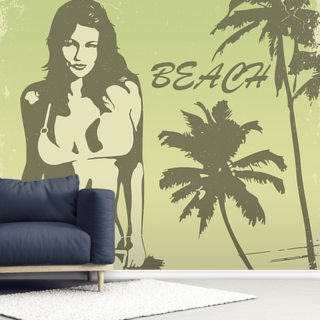 Beach Retro Wallpaper Wall Murals