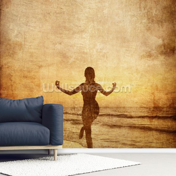 Meditation wall mural room setting