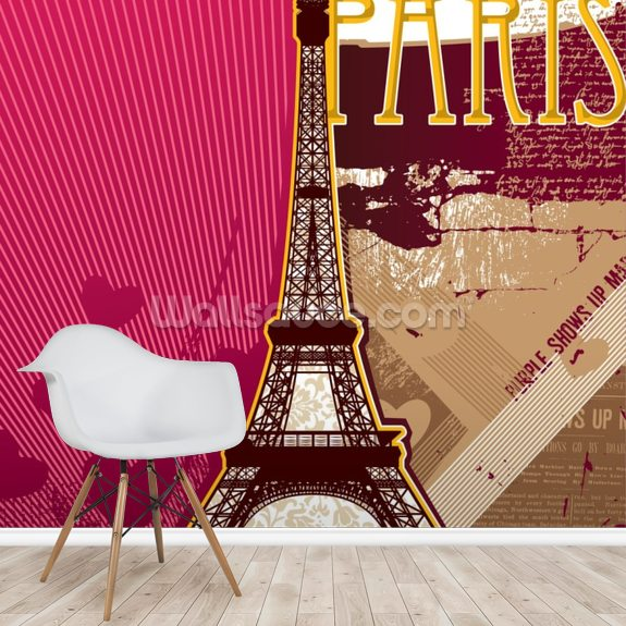Pink Paris wall mural room setting