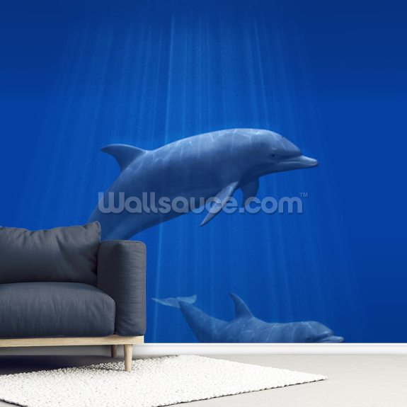 Dolphins Undersea mural wallpaper room setting