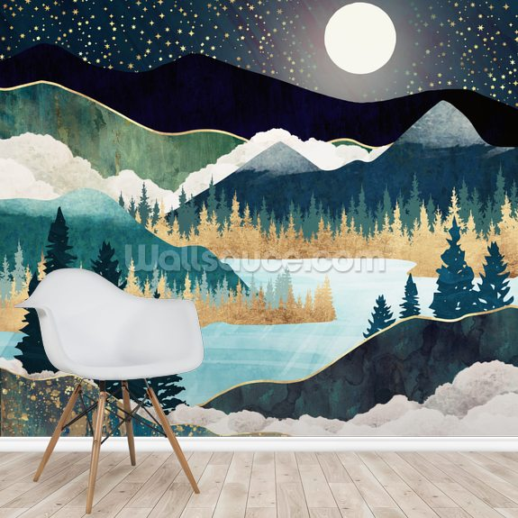 Star Lake wallpaper mural room setting