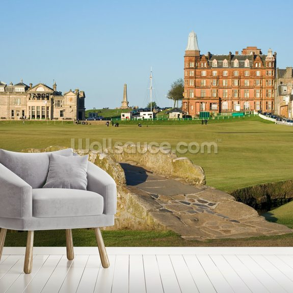 Swilcan Bridge, St Andrews Old Course wallpaper mural room setting