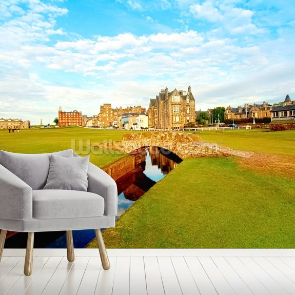 St Andrews Swilcan Bridge mural wallpaper room setting