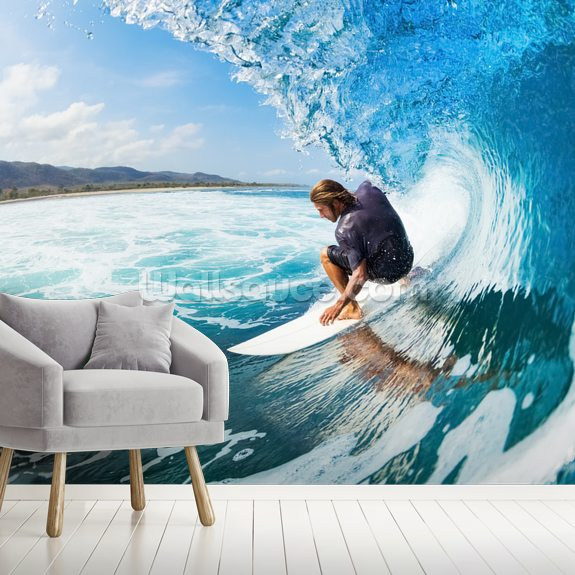 Surfing wall mural room setting