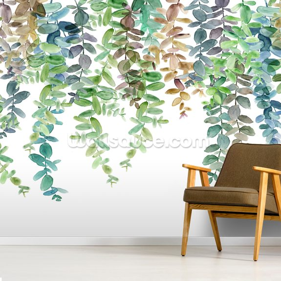 Hanging Eucalyptus mural wallpaper room setting