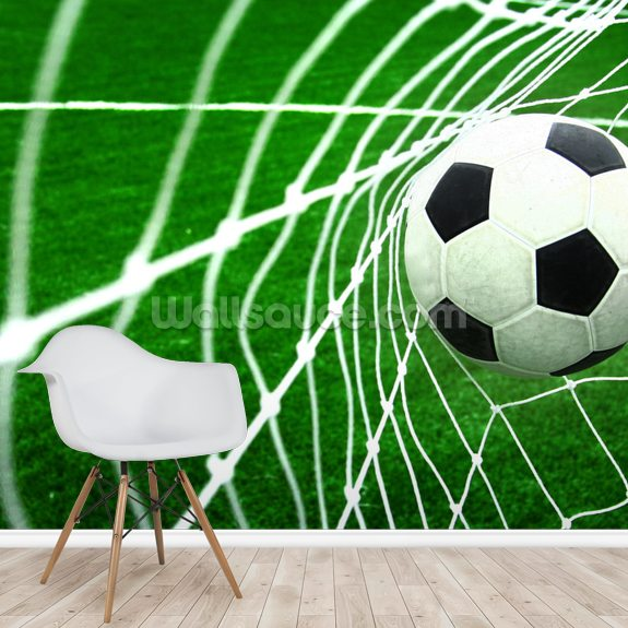 Soccer wallpaper mural room setting