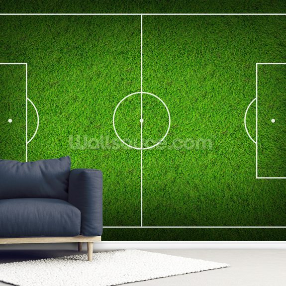 Soccer Pitch wallpaper mural room setting