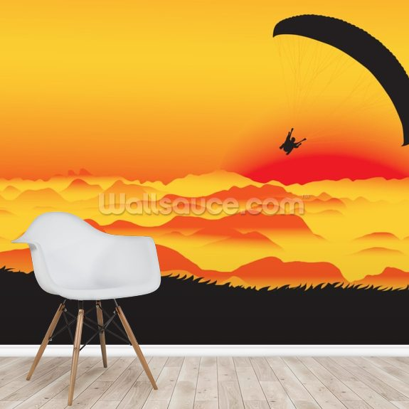 Paraglider wallpaper mural room setting