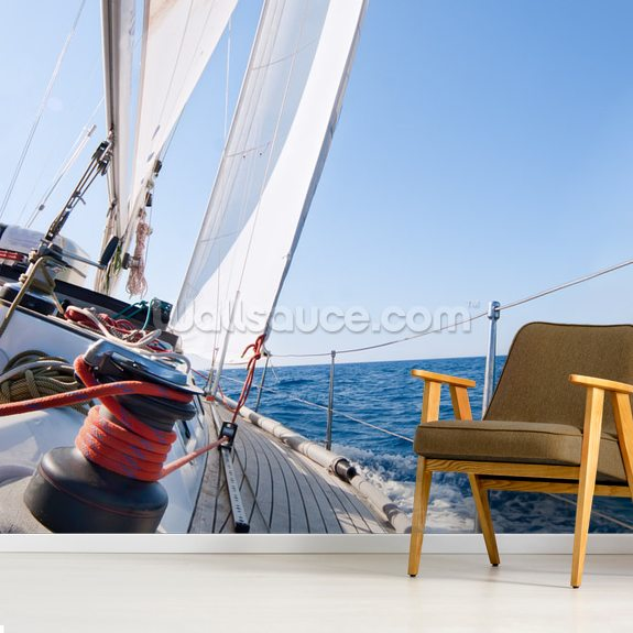 Sailing mural wallpaper room setting