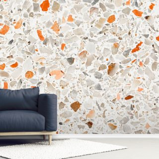 Vibrant Orange and Grey Wallpaper Wall Murals