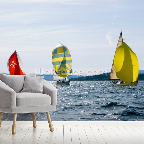 Yacht Race mural wallpaper room setting