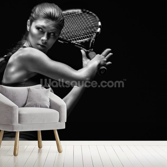 Tennis Player wallpaper mural room setting