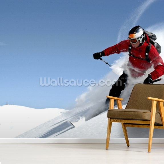 Telemark Skiing wall mural room setting