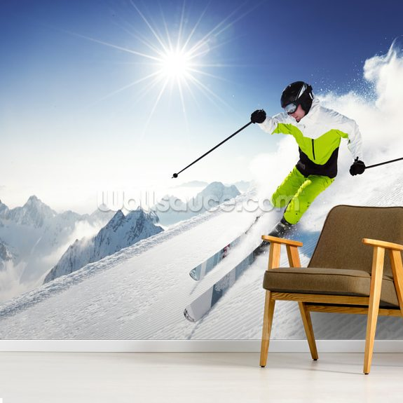 Skier in Mountains wallpaper mural room setting