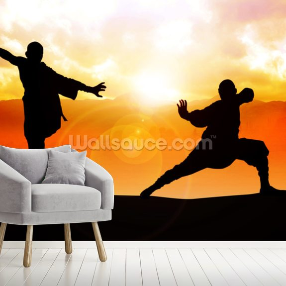 Martial Arts mural wallpaper room setting