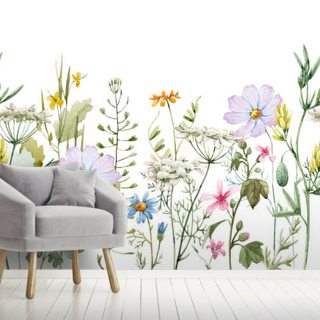 Delicate Floral Meadow Wallpaper Wall Murals