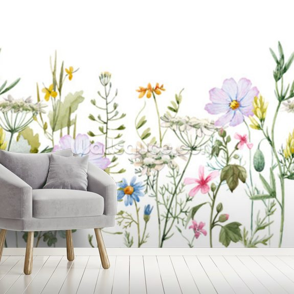 Delicate Floral Meadow mural wallpaper room setting