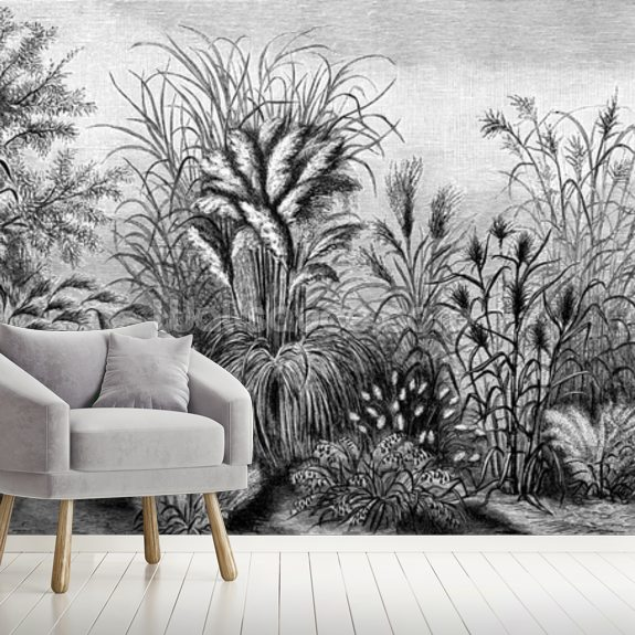 Antique Tropical Foliage mural wallpaper room setting