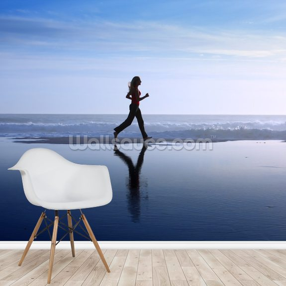 Woman Jogging wallpaper mural room setting