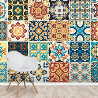 Terracotta and Blue Medley Wallpaper Wall Murals
