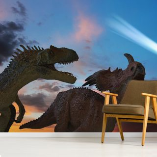 Dinosaurs Battle as the Comet Approaches Wallpaper Wall Murals