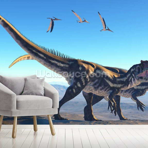 Allosaurus on Mountain wallpaper mural room setting