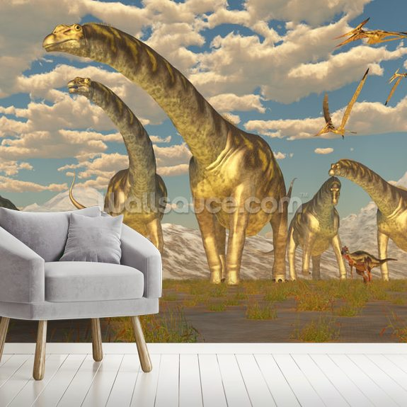 Argentinosaurus Herd Migration mural wallpaper room setting