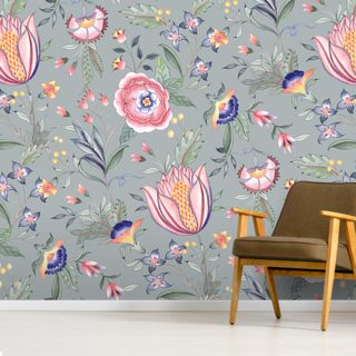 Chintz Dark Green Wallpaper Wall Murals