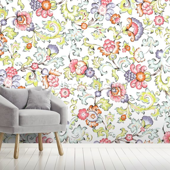 Jali White mural wallpaper room setting