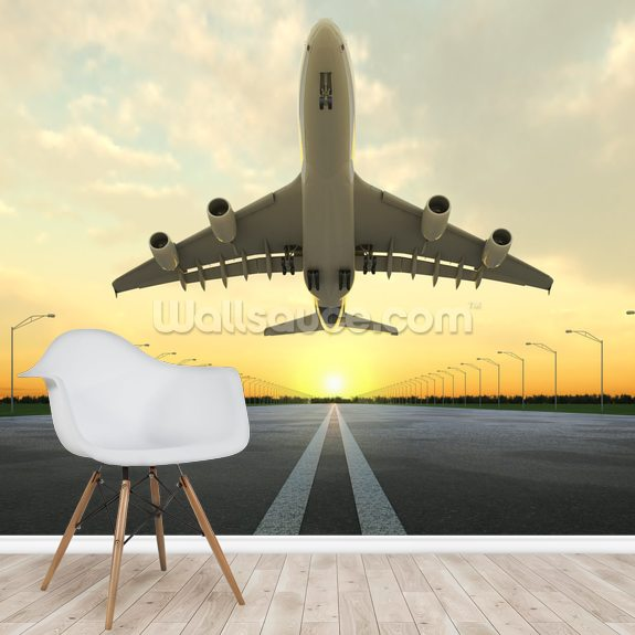 Aircraft Take Off wallpaper mural room setting