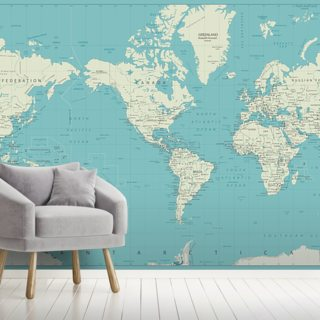 White and Blue World Map