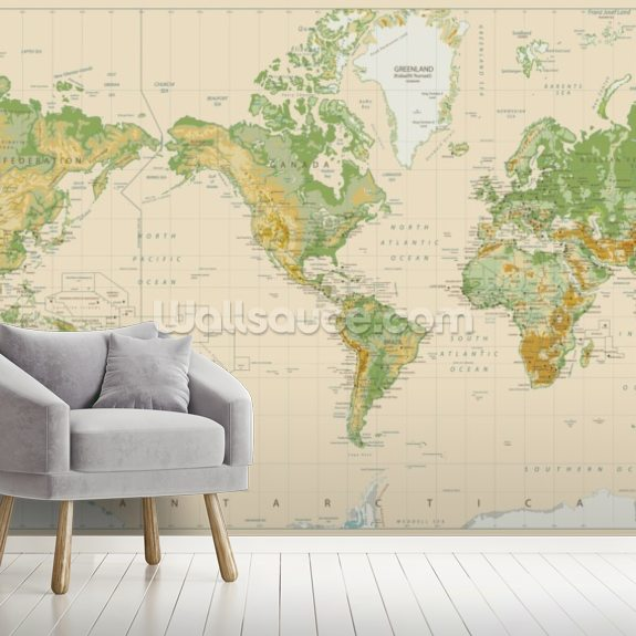 Green and Beige Map wallpaper mural room setting