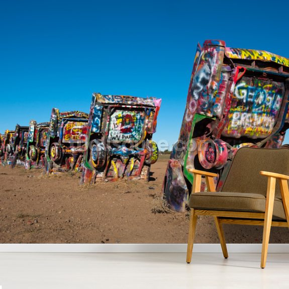 Cadillac Ranch Amarillo, Texas mural wallpaper room setting
