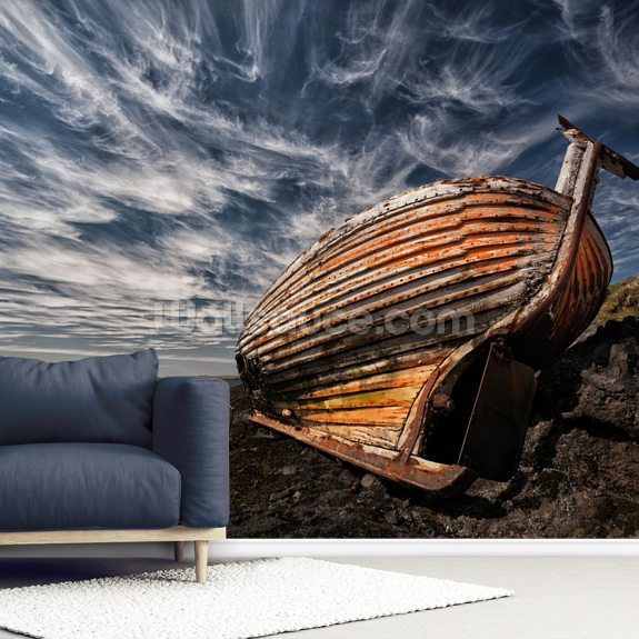 Old Boat mural wallpaper room setting