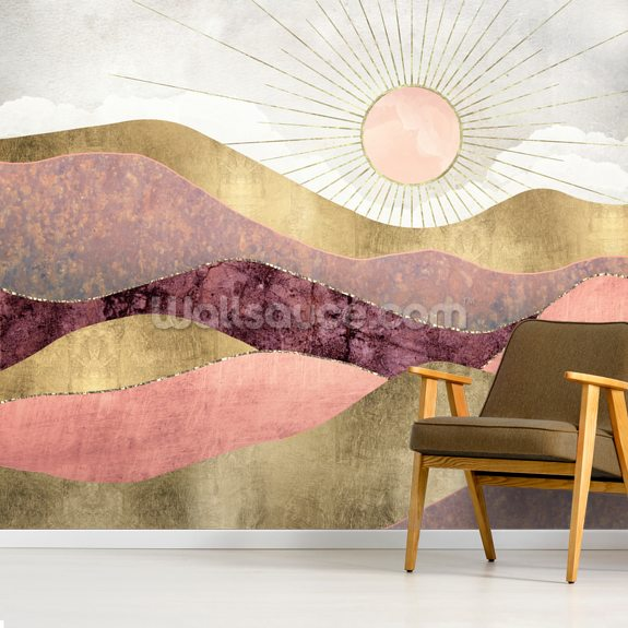 Blush Sun wall mural room setting