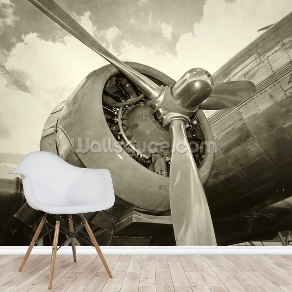 Old Engine and Propeller wall mural room setting
