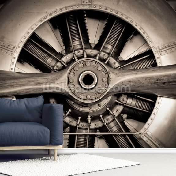 Vintage Propeller Aircraft Engine wall mural room setting
