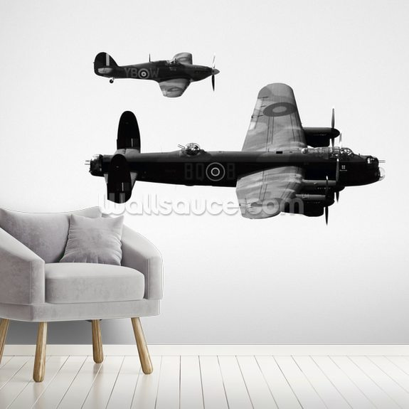 WWII Bomber and Spitfire Aeroplanes mural wallpaper room setting