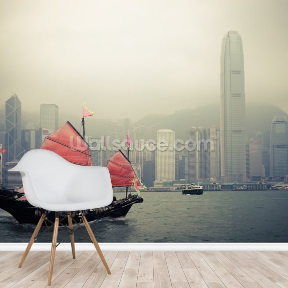 Chinese Sailboat wall mural room setting